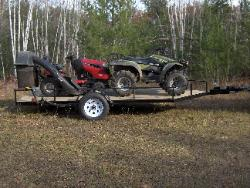 Use as a utility trailer, haul a large 4 wheeler and a lawn tractor easily.