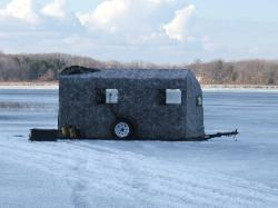 Out ice fishing, it'll lower all the way down to your holes.