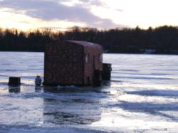Ice fishing with the Hunter Orange Camo Trailer